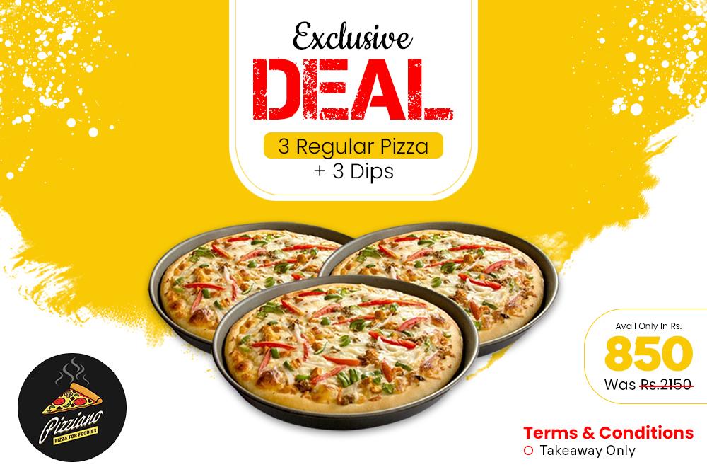 3 Regular Pizza Deal